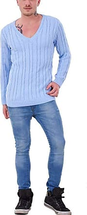 21Fashion Mens Long Sleeve Chunky Cable Knitted Jumper Adults Fancy V Neck Casual Sweater Top Sky Blue 4X Large
