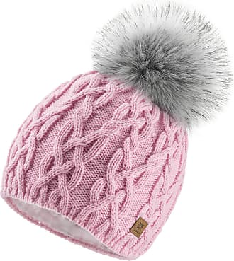 4sold Ladies Chunky Soft Cable Knit Handmade Woman Hat Cosy Fleece Liner and Bobble Faux Fur Pom pom (Debora Pink)