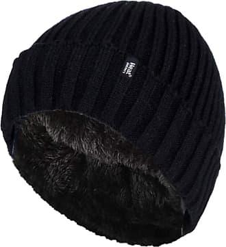 Heat Holders Mens Genuine - HEAT HOLDERS Heatweaver Hats - BRAND NEW DESIGNS (Black - Turn Over RIB)