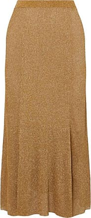 Alice & Olivia Elissa Ribbed Lurex Midi Skirt - Gold