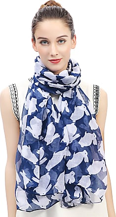 Lina & Lily Rabbit Bunny Print Womens Scarf Oversized (Blue)