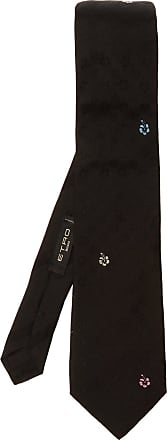 Etro Embroidered Tie Mens Black