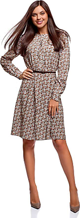 oodji Collection Womens Belted Viscose Dress, Brown, UK 16 / EU 46 / XXL