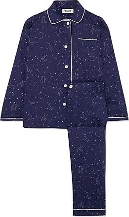 f2a353b70c7b9 Sleepy Jones Pyjama En Popeline De Coton Imprimée Bishop - Bleu nuit