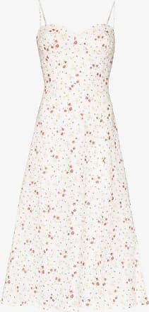 Reformation Womens White Nebraska Floral-print Midi Dress