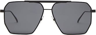 Bottega Veneta Double-bridge Aviator Metal Sunglasses - Mens - Black