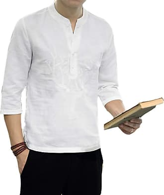 Hellomiko Mens Chinese Style Loose Cotton and Linen Casual Shirt Round Neck Embroidery 3/4 Sleeve Shirt White