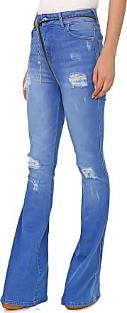 Triton Calça Jeans Triton Flare Destroyed Azul
