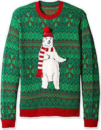 Blizzard Bay Mens Polar Bear Scarf Ugly Christmas Sweater, Green, Medium