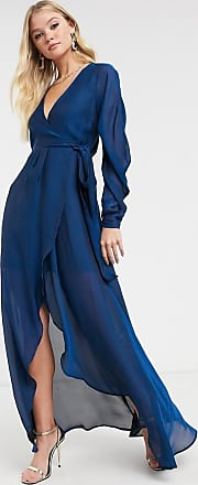 Asos satin chiffon wrap maxi dress with tie detail and drape sleeve-Blue