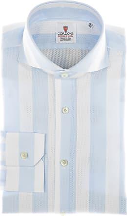 Cordone 1956 Camicia sartoriale Mod. Giro Inglese Big Stripes Azure - Tessuto cotone - giro inglese - Colore bianca - Taglia 36