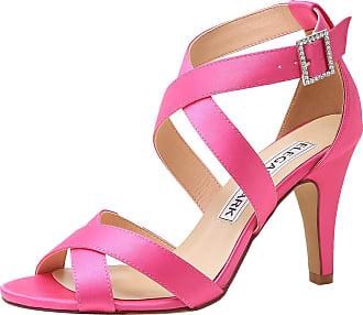 Elegantpark HP1705 Wedding Sandals for Women Strappy Sandals High Heels Peep Toe Buckle Satin Wedding Bridal Shoes Evening Party Shoes Hot Pink UK 7(EU 40)