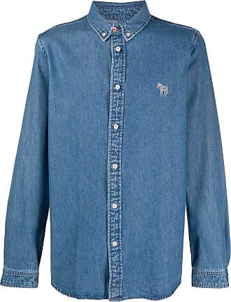 Paul Smith Camisa jeans com logo bordado - Azul
