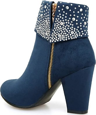 Generic Winter Women Boots Short Plush Lined Warm Anti Slip High Heel Shoes Ladies Casual Party Suede Round Toe Zip Ankle Boot Blue