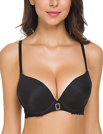 Wingslove Womens Push up Bra Padding Underwire Plunge Smooth Cups Cleavage Bra(Black 38AA)