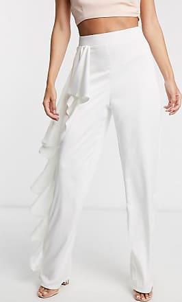 Missguided Peace + Love - Hose mit weitem Bein und Rüschendetail in Weiß