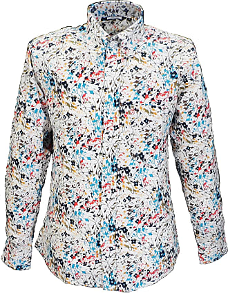 Relco Mens White Multi Print Long Sleeved Shirts (XX Large)