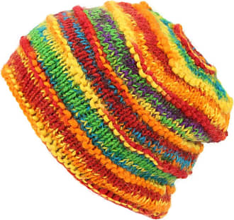 Loud Elephant Chunky Ribbed Wool Knit Beanie Hat with Space Dye Design - Rainbow
