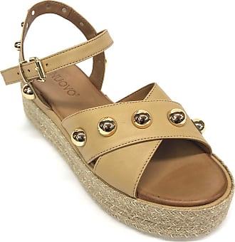 Inuovo Art 117024 Leather Studded Sandal Beige Size: 6 UK