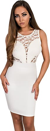 Ikrush Emmelyn Lace Bodycon Dress Cream UK 12