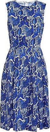 Oscar De La Renta Oscar De La Renta Woman Pleated Printed Cotton Dress Blue Size 8