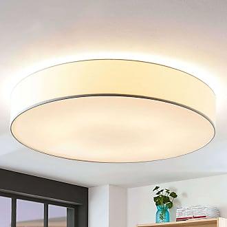 Lindby Lámpara de techo de tela Gordana en blanco, 98 cm