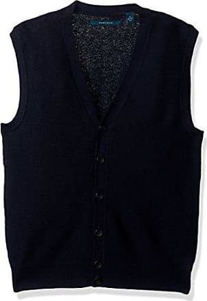Perry Ellis Mens Solid Textured Button Front Sweater Vest, Dark Sapphire, Small