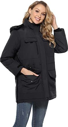 Abollria Womens Parkas Coats with Hood Warm Winter Lined Padded Long Coats Jacket Outwear Black