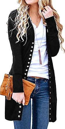 Dresswel YUHX Women Button Down Knitted Cardigan Open Front Long Sleeve Midi Tunic Sweater Casual Blouse Tops Black