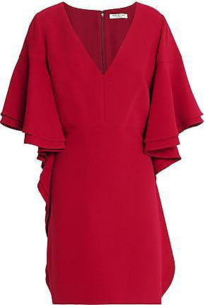 Halston Heritage Halston Heritage Woman Ruffled Crepe Mini Dress Claret Size 0