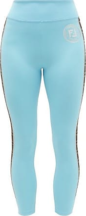 Fendi Ff-logo Stripe Athletic Leggings - Womens - Light Blue