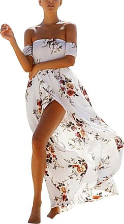 ZongSen Bohemian Women Floral Printed Off Shoulder Strapless Sundress Beach Casual Split Maxi Long Dress White XL