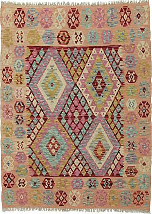 Nain Trading 175x129 Handgewebter Teppich Kelim Afghan Dunkelgrau/Rosa (Wolle, Afghanistan)
