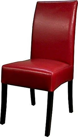 New Pacific Direct Valencia Bonded Leather Chair,Black Legs,Red,Set of 2