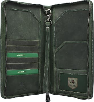 Visconti Hunter Collection WING Leather Travel Wallet & Strap 728 RFID blocking Oil Green
