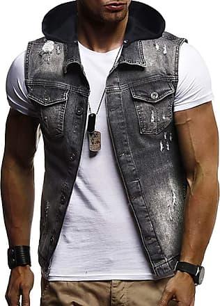 Hellomiko Mens Casual Slim Denim Jacket Sleeveless Hooded Cowboy Jacket Classic Denim with Hole Decoration