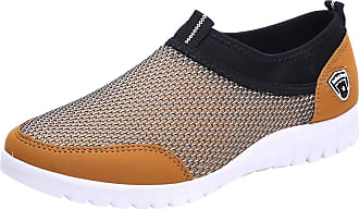 Jamron Mens Casual Slip-on Breathable Mesh Multisport Trainers Fitness Shoes Beige SN01063 UK7