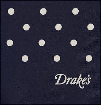 Drake's Polka-dot Silk Pocket Square - Navy