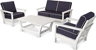 POLYWOOD Harbour 4 Piece Outdoor Conversation Set - PWS239-2-WH5439-5404