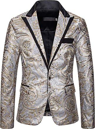 Whatlees Men Stylish Blazer Shiny Sequins Suit Jacket Slim Fit V Neck Coat 02010300XSilver+XXL