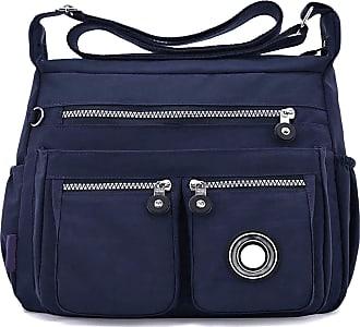 GFM Womens Nylon Waterproof Cross Body Shoulder Bag (S1-171-GHNL-Navy Blue)