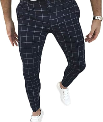 Hellomiko Mens Casual Plaid Pattern Formula Cropped Casual Trousers Slim Stretch Trousers Straight Trouser Navy Blue