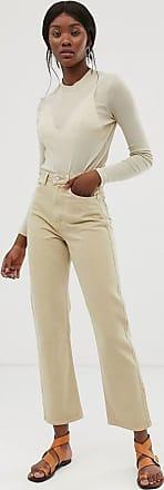 Weekday Row - Schmale Jeans mit geradem Beinschnitt aus Bio-Baumwolle in Sand-Beige