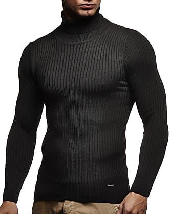 LEIF NELSON Mens Pullover Knit Sweater fine Knit Turtleneck LN-1670 Black XX-Large