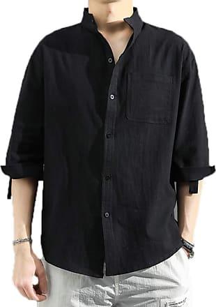 Hellomiko Simple Shirt Mens Large Size Chinese Standing Collar Pocket Shirt Long Sleeve Pullable Cotton Shirt Retro Chinese Style Black