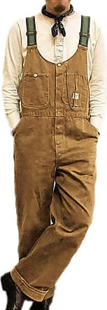 Hellomiko Mens Dad Pants Vintage Bib Overalls Dungarees Jumpsuits Baggy Trousers Khaki