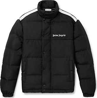 Palm Angels Striped Logo-print Quilted Shell And Canvas Down Jacket - Black