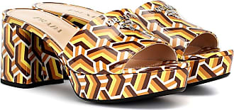 Prada Printed leather plateau sandals
