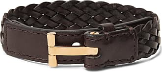 Tom Ford Woven Leather And Gold-tone Bracelet - Brown