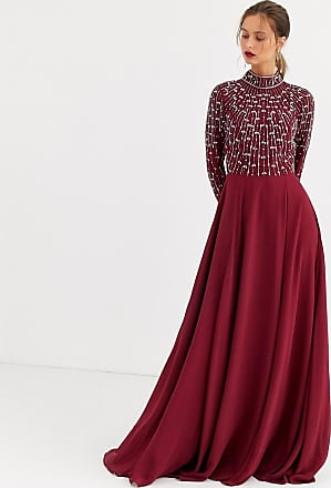 Asos maxi dress with linear embellished bodice and wrap skirt-Red